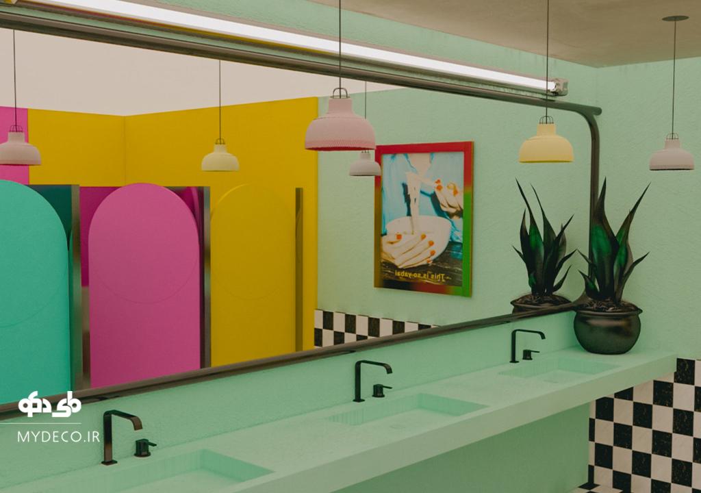 ایده سرویس یهداشتی و حمام رنگی