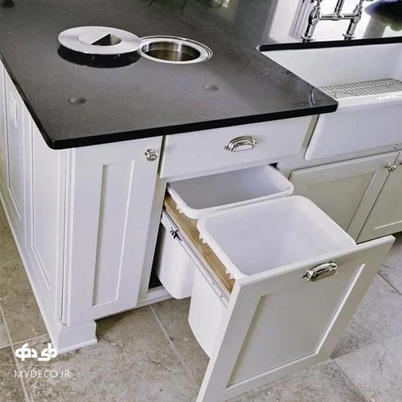 سطل زباله در کابینت آشپزخانه
