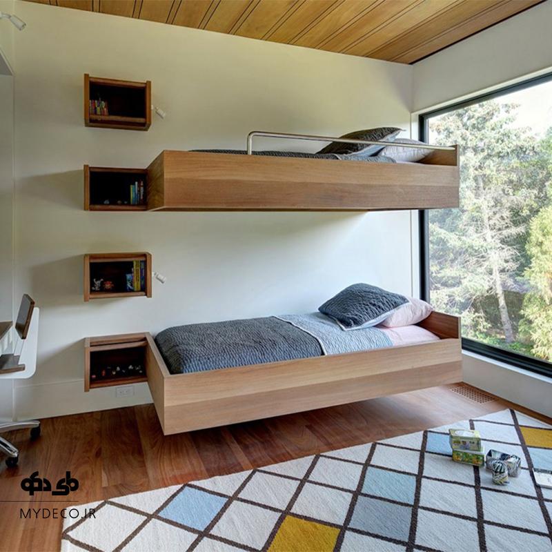تخت خواب مدرن دو طبقه در اتاق خواب