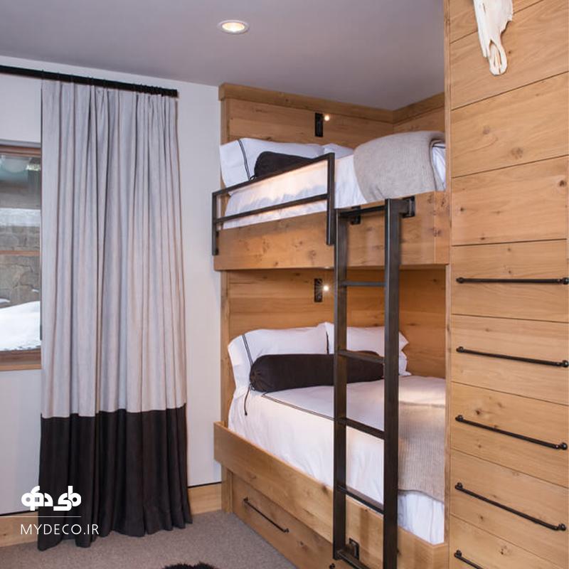 تخت خواب دو طبقه چوبی شیک