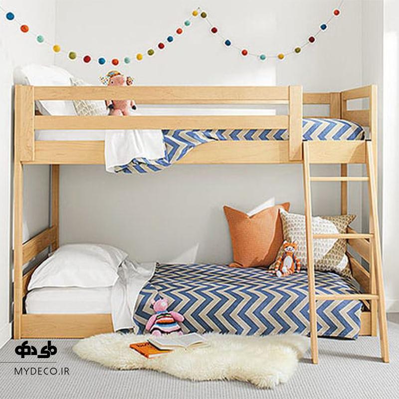 تخت خواب دو طبقه پسرانه چوبی