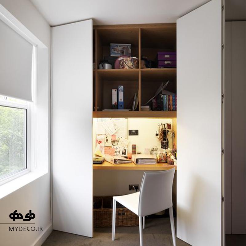 طراحی میز تحریر مخفی در اتاق خواب
